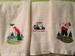 Sunflower Bath Towel Set by Christmas Golf Themed Bathroom Towels I Made For Our Bathroom