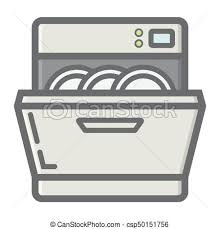 Dishwasher Colorful Line Icon Kitchen Appliance Rh Canstockphoto Com PowerPoint Clip Art Water Heater