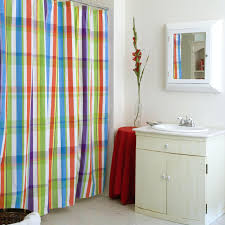 Blue Vertical Striped Curtains by Blue Yellow And Green Striped Shower Curtain Bathroom Design