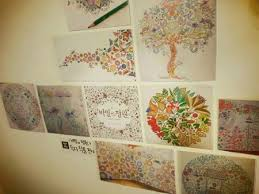 Artwork Taken From The Coloring Book Secret Garden Are On Display At By A Cafe In Sangam Dong Seoul Courtesy Of KL Publishing Inc
