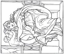 The Delphic Sibyl From Sistine Chapel Painting By Michelangelo Bounarroti Printable Coloring Book Page