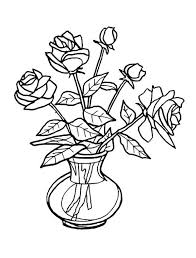 Flower Bouquet Fresh Roses For Coloring Page