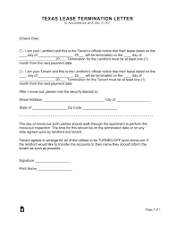 Texas Lease Termination Letter Form 30Day Notice EForms Free