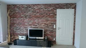 backsteinwand wohnzimmerwand retro look backsteinwand