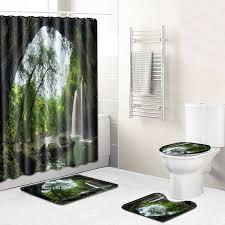 shower curtains 4pcs retro holz oor badezimmer set