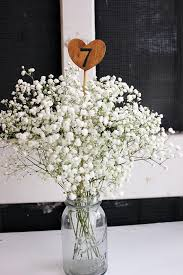 I Really Like The Babies Breath For Centerpiece Flowers Wooden Table Numbers Vintage Wedding