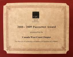 Pacesetter Award For Leadership In The Technical Writing Profession