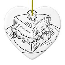 Cake Slice Vintage Retro Woodcut Style Ceramic Ornament drawing sketch design graphic draw personalize