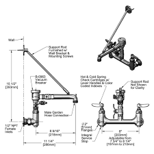 t s b 0665 bstr 963 wall mount rough chrome service sink faucet