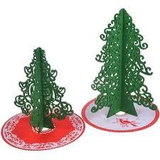 Outdoor Indoor Green Cartoon Mini Artificial Christmas Trees With Cristmas Tree Skirt Wool Hair Felt