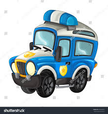 Cartoon Happy And Funny Off Road Police Truck / Smiling Vehicle | EZ ...