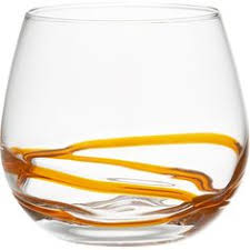 Orange Swirl Meanders Freeform Around The Base Of This Wide Mouth All Purpose Beverage Glass Winsome And Casual Handcrafted Can Be Used Every