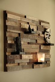DecorationsRustic Wooden Textured Wall Art Plus Shelves And Complete Sculpture Easy Cool