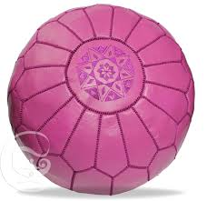 Hot Pink Moroccan Leather Pouf