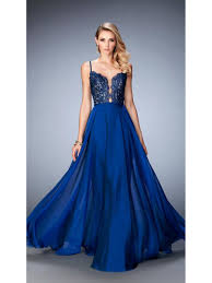 line lace and chiffon spaghetti straps long blue party evening