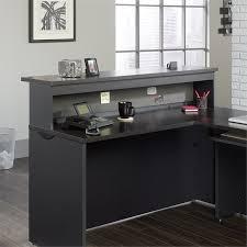 Cymax Desk With Hutch by Reception Desk In Bourbon Oak 419641 419600 Kit