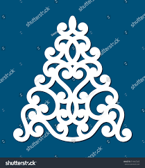 Christmas Tree Cut Out Of Paper Or Wood Template For Cards Invitations