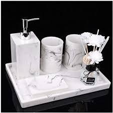 4 teiliges stilvolles badzubehör mit marmor seifenspender