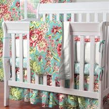 Aqua And Coral Crib Bedding by Mini Crib Bedding Carousel Designs