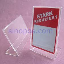 Crystal Clear Acrylic Sign Holder Slanted L Display Counter Table Shelf Price Tag Card Ticket