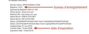 bureau d enregistrement nom de domaine nom de domaine comment je peux savoir où il est enregistré