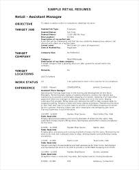 Resume Sample For Retail Objective Example