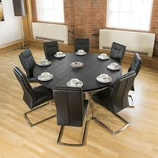Large Round 1.8m Black Oak Dining Table + 8 Deep Vintage Black ... Oak Round Ding Table In Brown Or Black Garden Trading Extending Vintage And Coloured With Tables Glass Square Wood More Amart Fniture Serene Croydon Set 4 Marlow Faux Leather Eaging Solid Walnut And Chairs White Outdoor Winston Porter Fenley Reviews Wayfair Impressive 25 Levualistecom Amish Merchant Oslo Ivory Leather Modern Direct Rhonda In Blacknight Oiled Woood Cuckooland Chair Seats Round Extending Ding Table 6 Chairs Extendable