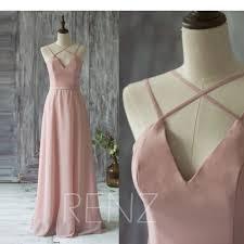 2017 long chiffon bridesmaid dress straps blush wedding