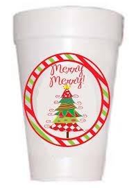 Merry Merry Christmas Tree styrofoam cups Thanksgiving Cups