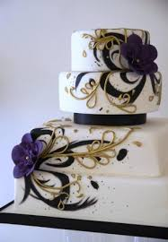Back To More Wedding Cakes Hand Painted Purple And Gold Cake
