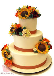Fall Wedding Cake With Sunflowers