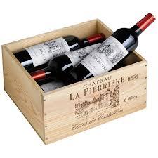 caisse a vin en bois château la pierrière coffret bois 6 bouteilles château la