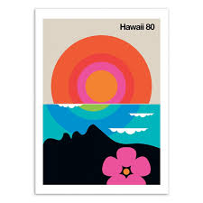 100 By Bo Design ArtPoster Country City And Travel Hawaii 80 By Lundberg