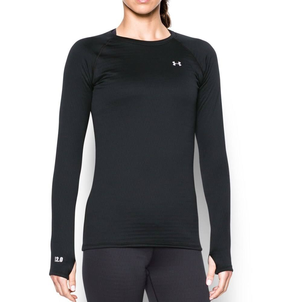 Under Armour Women's Base 2.0 Crew Long Sleeve Shirt - Black/Glacier Gray, Large