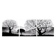 3Pcs Modern Black White Trees Landscape Oil Painting