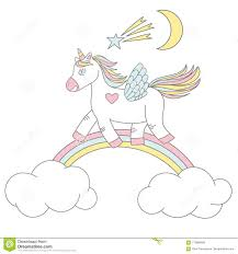 Download Vector Print Design Of A Cute Unicorn On Rainbow With Stars And Moon Stock