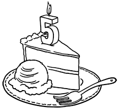 Number Five Birthday Candle on Slice of Cake Coloring Pages