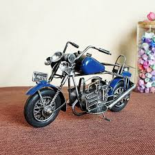 Mini Dark Blue Man Made Metal Model Handicraft Motorcycle Toys For Kid Gift Special