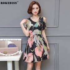 ROKEDISS Summer Dress 2017 Fashion Clothes Women Short Sleeve Multicolor Floral Print Strapless Sheath
