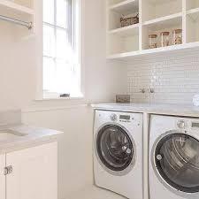 white mini brick laundry room backsplash tiles design ideas