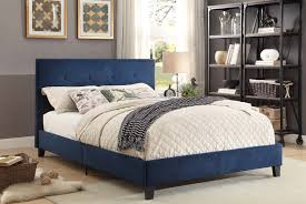 Eastern King Platform Bed by Homelegance Brice Upholstered Platform Bed Blue 1880bue 1