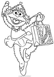 Zoe And Bag Full Of Candy In Sesame Street Halloween Coloring Page
