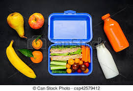 Blue Lunch Box With Vegetables And Fruits