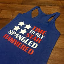 American Flag Time To Get Star Spangled Hammered Tank Of July Country Top Patriotic Shirt Drinking