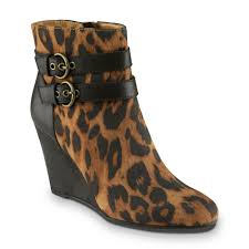 jaclyn smith women u0027s ellis brown leopard print wedge bootie