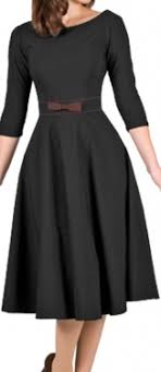50S BOW SWING DRESS BLACK WITH BROWN TRIM