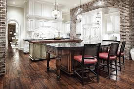 Light Rustic Wood Flooring Kitchen Traditional With Brick Wall Dark Floor Two Tone Cabinets