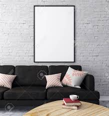loft ziegel wohnzimmer interieur mit möbeln und leeren plakatwand auf wand design und stil konzept 3d rendering