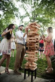 Reception Game Ideas- Construct A Giant Jenga Tower For A Fun And ... Top Best Backyard Party Decorations Ideas Pics Cool Outdoor The 25 Best Wedding Yard Games Ideas On Pinterest Unique Party Pnic Summer Weddings Incporate Bbq Favorites Into Your Giant Jenga Inspired Tower Large Unsanded Ready To Ship Cait Bobbys In Massachusetts Gina Brocker 15 Ways Make Reception More Fun Huffpost Bonfire Decorative Lanterns Backyard Wedding 10 Photos Cute Games Can Play In Home Weddceremonycom Inspiration Rustic Romantic Country