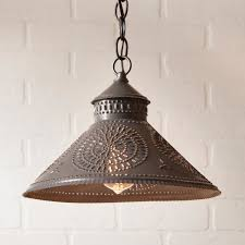 Punched Tin Lamp Shade Country by Stockbridge Shade Light With Chisel In Blackened Tin Ceiling
